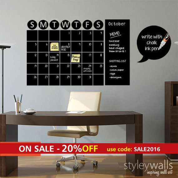 Chalkboard Calendar Wall : Chalkboard calendar decals chalk board wall by styleywalls