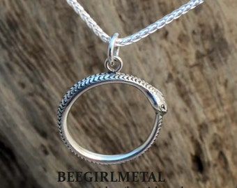 Sterling Hand Engraved Ouroboros Pendant