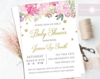 Floral Baby Shower Invitation, Spring Baby Shower Invite, Glitter, Girl Baby Shower, Watercolor Flower, Printable Baby Shower, jadorepaperie