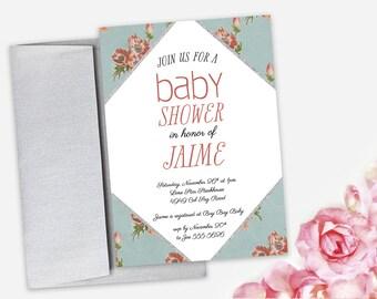 Baby Shower Invitation - Vintage Floral - Gender Neutral - DEPOSIT