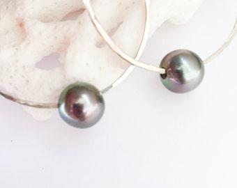 Tahitian Pearl Hula Hoop Earrings in Sterling Silver