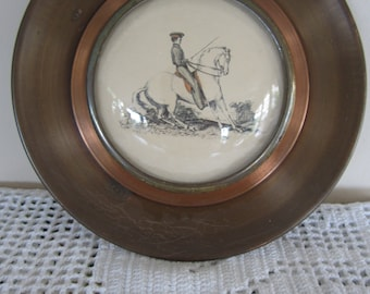 Vintage Horse Print Framed in Copper Tone Metal Convex Bubble Glass Round Frame
