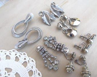 6 Pairs. Matching Vintage Earrings Clip On Lot. Silver-Tone and Rhinestone Vintage Wearable Destash Lot Trifari Leaf Rhinestone Drop E44