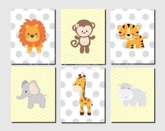 Jungle Animals Nursery Wall Art, Monkey, Lion, Tiger, Elephant, Hippo, Giraffe, Brother Sister, Yellow, Gray, Set of 6, Prints or Canvas