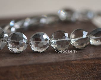 50pcs Crystal Glass Faceted Coin Beads 14mm Sparkly Clear Grey -(TS05-15)