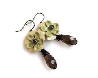 Smoky Crystal Drop Earrings, Flower Dangle Statement Earrings, Dark Romantic earrings, Gift for Her