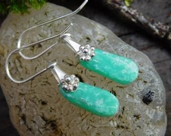 Petite Green Tanzanian Chrysoprase  and Sterling Silver Dangle Earrings