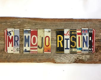 Mr MOJO RISIN Jim Morrison LA Woman upcycled license plate art sign tomboyART recycled OOaK The Doors