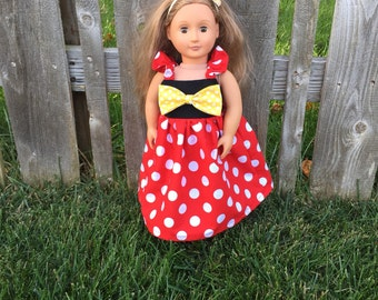 "18 inchDoll flutter minnie mouse themed dress, fits 15-18"" doll, princess dolly dress"