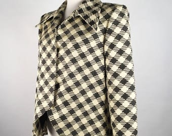 "Vintage 90s Pauline Trigere Black and Cream Jacket, Wide Collar, Diagonal Check, Cutaway Front, Lined, B 40"", Minimalist, Monochrome"