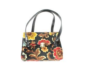 Vintage 60s Chenille Handbag Carpet Bag Floral  Purse 1960s Black Red Brown Gold Flowers Hippie Boho