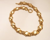 Vintage Anne Klein Gold Necklace Modernist 16 Inch Choker Necklace 1990s