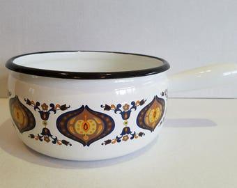 Vintage Enamel Mod Pattern French Aubecq Sauce Pan Pot