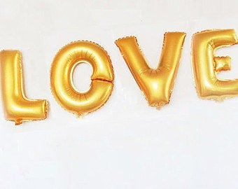 Love Balloon Kit - Gold - Foil Balloon - For Any Party - Party Decor - 16 inches - 40cms -  Ready to Ship.