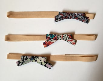 Liberty print fabric bow headbands