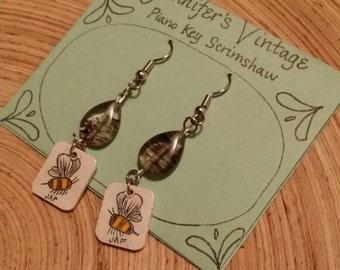 Scrimshaw Earring Set Bumblebees Panel and Glass Bead OOAK Great Gift Idea
