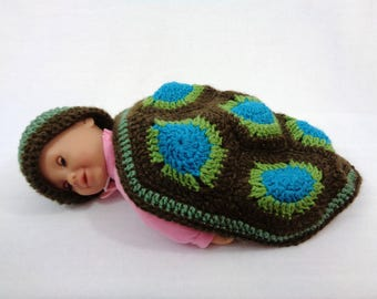 Crochet Turtle Cover and Hat, Green, Blue and Brown Turtle Photo Prop with Hat and Blanket, Baby Photo Prop, 0 to 3 Months, Shower Gift