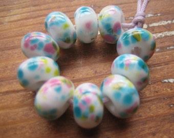 Chintzy Spring Pastel Frittie Lampwork Glass Beads, SRA, UK Seller, UK Lampwork