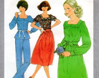 1970s Peasant Blouse or Dress & Gathered Skirt or Pants - Vintage Pattern Simplicity 8356 - Size 10 Bust 32 1/2 UNCUT FF