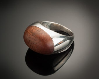 Toms pinky, Mens pinky  ring, hand made cast silver, rose wood, big ring, chunky