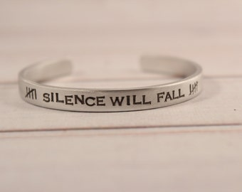 Silence will fall - Doctor Who inspired Cuff Bracelet - pure aluminum, copper, brass or sterling silver - dr who - fandom cuff - the silence