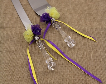 Wedding Cake Serving Set with Purple and Yellow Deco