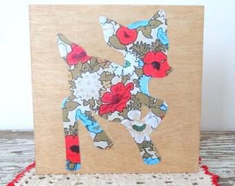 Baby Deer Picture - Fawn, Floral Deer Art - Reindeer Art - Red, Turquoise Floral - Animal Paper Cut Silhouette - Woodland Nursery Art Canvas
