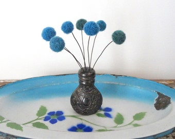 Pom pom Flower Arrangement - Salt and Pepper Shaker Bouquet - Tarnished silver shaker - Teal pompoms - Felt Flower Bouquet - Ornate Vase