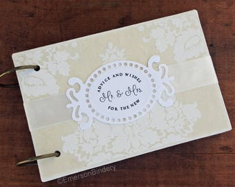 Advice and Wishes for the New Mr. and Mrs., Advice Book, Wedding Guest Book, French Damask pattern, removable pages
