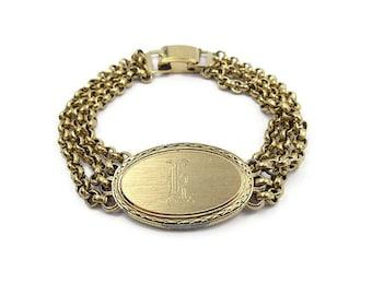 Vintage Speidel Gold Plated Engraved ID Bracelet - Letter K, Old English, Vintage Bracelet, Vintage Jewelry