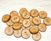 "Small 22 Handmade apple wood Tree Branch Buttons with Bark, accessories (0,87'' diameter x 0,20"" thick)"