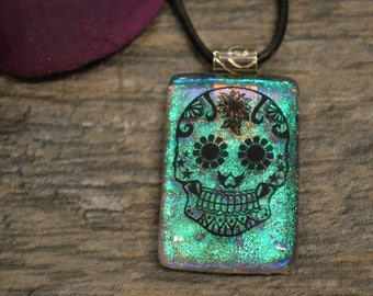 Sugar Skull Dichroic Glass Pendant, Fused Glass, Dia de los Muertos, Day of the Dead, Sugar Skull Jewelry