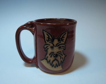 Scottie Dog Scottish Terrier Dog Mug in Brick Red - Holds 16 ounces - In Stock