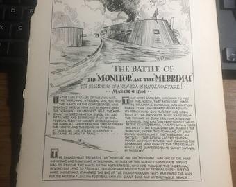monitor merrimac  naval sub warfare 1862 1933 book page history print illustration . Art frameable history