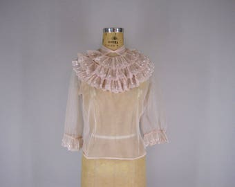 1950s Vintage Blouse / 50s Pink Nylon Top with Ruffle Bib