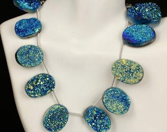 ON SALE Titanium Druzy, Drusy, Blue, Green, Oval Briolettes, Your Choice of One