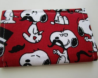 Snoopy with Mustache, Peanuts, Snoopy Wallet, Credit Card Wallet, Business Card Wallet, Gift Card Holder, small wallet, snoopy poses