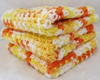 Sunshine and Lemonade Crocheted Cotton Wash Cloths Set of Three, Handmade, Orange, Yellow and White, 100% Cotton, Dish Cloths, Ombre