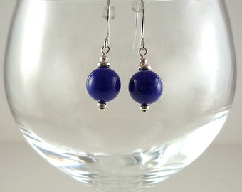 Cobalt Blue Earrings Blue Bead Earrings Blue Mountain Jade Earrings Gemstone Earrings  Dark Blue Drop Earrings Blue Silver Drop Earrings