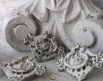 Victorian Antique Furniture Bail Pulls. Salvage Antique hardware. Ornate Art Nouveau Drawer Hardware.  Shabby Chic White. Set of 3