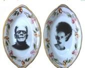 "ON SALE Frankenstein & Bride Miniature Plate Set 3.75"" or Brooch Pin"