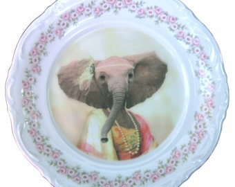 "Eleanor the Elegant Elephant - Altered Vintage Plate 10.75"""""