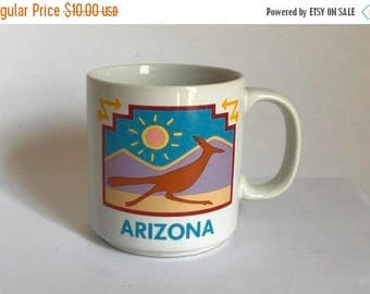 Vintage 1980's ARIZONA State with Roadrunner in Desert Souvenir Coffee Mug by Papel