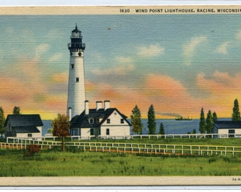 Wind Point Lighthouse Racine Wisconsin 1949 linen postcard