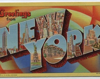 Greetings From New York City Large Letter 1948 linen postcard