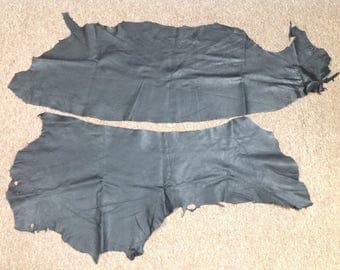 903AP.  Package of 2 Black Leather Deerskin Remnants