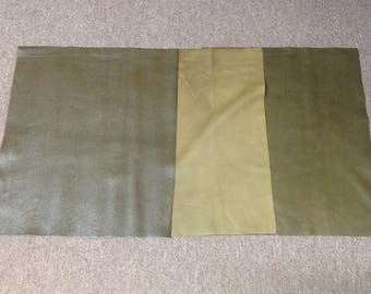 AP118.  Package of 3 Green Leather Cowhide Remnants