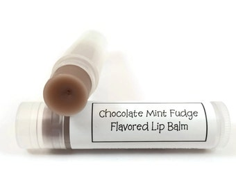 Chocolate Mint Fudge Flavored Lip Balm | Chapstick with Shea Butter, Lip Balm with Vitamin E and Beeswax  | Bridesmaid Gift | Hostess Gift