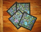 Fabric Coasters , Blue and Purple Paisley Flowers, Reversible Coasters, Quilted Coasters, Gifts under 20, Drink Coasters, Hostess Gift