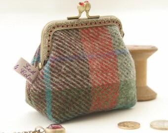 NEW Bronze metal frame coin purse/red rhinestones/ Check green red Harris tweed/ Liberty tana lawn
